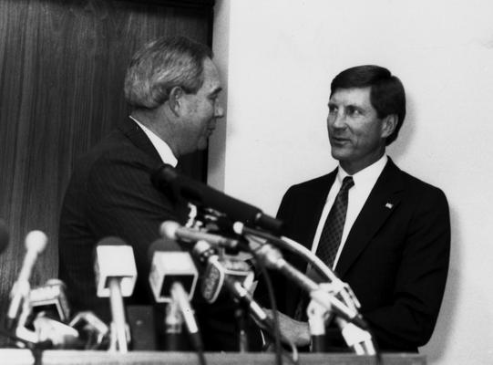 Curry, Bill, Head football coach, 1990 - 96, shown (r) with C. M. Newton, Athletics Director, 1989 - 2000