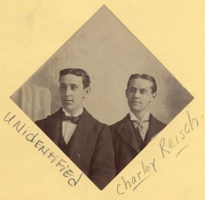 Reisch, Charles, Alumnus, pictured (right) with unidentified man