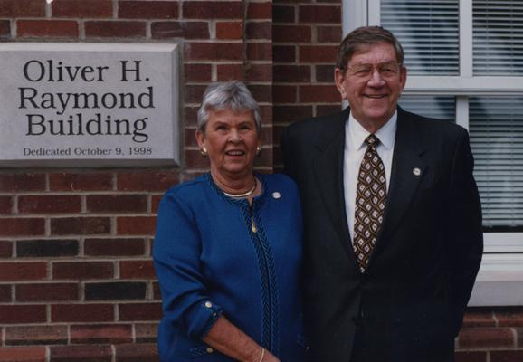 Raymond, Oliver H., College of Engineering alumnus at the dedication of the Oliver H. Raymond Building with his spouse, Anne Hart Raymond, alumna of the College of Commerce / Business and Economics