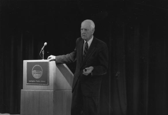 Clark, Thomas D., Alumnus, Master of Arts, 1929, Distinguished Professor, History Department, 1931 - 1968, Noted author and historian, Expert on Kentucky and Southern culture, pictured speaking at the opening of the Lexington Public Library