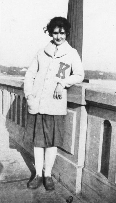 Carrol, Elizabeth (Betty), Alumna, pictured in letter sweater