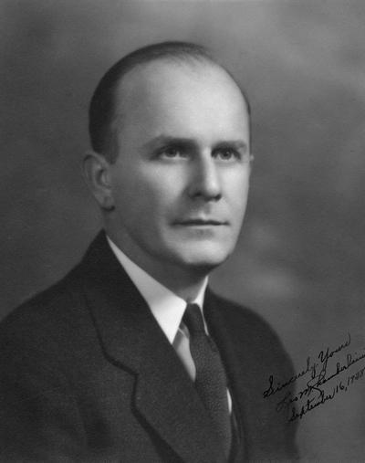 Chamberlain, Leo M., Professor, Education, University Vice President Registrar ?, 1946 - 1961, Vice President, 19 , Portrait signed and dated September 16, 1938, from President Frank McVey's files, 1953