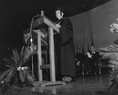 Chamberlain, Leo M., Professor, Education, University Vice President, Addressing graduates at 1958 Commencement Ceremonies