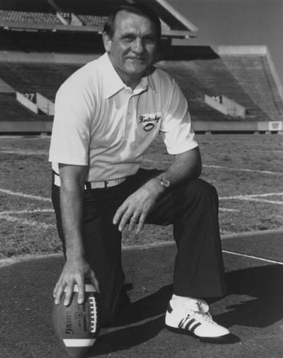 Claiborne, Jerry, Head Football Coach, 1982 - 1989, pictured at Commonwealth Stadium