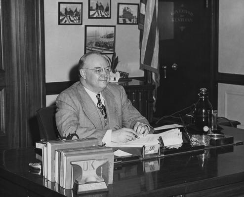 Clements, Earle Chester, Alumnus, A.B., 1917, Governor of Kentucky and Board of Trustees member, 1947 - 1950, State Senator, 1941 - 1944, United States Congressman, 1944 - 1947, United States Senator, 1950 - 1957, Birth, 1896, Death, 1985