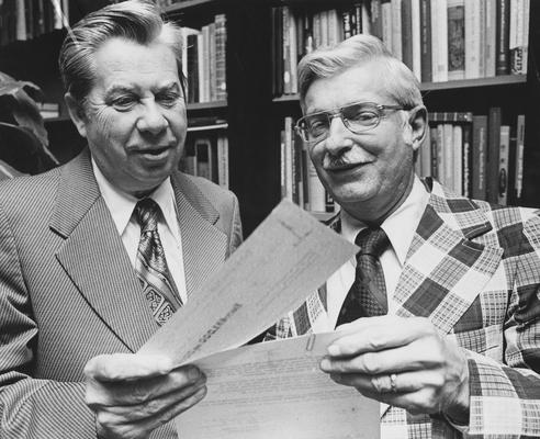 Cochran, Lewis W., Professor, Chemistry Department, Vice President for Academic Affairs, pictured (left) with Omer W. Johnson, Managing Editor of the Kentucky Post and 1962 - 65 Board of Trustees member