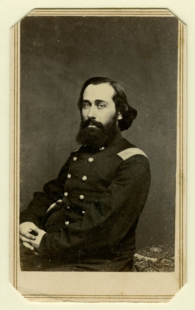 Unidentified man in Union 14-button officer's shell coat; shoulder boards indicate a rank of Colonel; possibly Colonel Ethelbert Ludlow Dudley (1818-1862), U.S.A.; 21st Regiment Kentucky Infantry (Photographer: Webster & Bro., Louisville, KY)