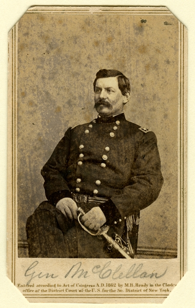 Major-General George Brinton McClellan (1825-1885), U.S.A.; commander of the Army of the Potomac, ran as the Democratic Party U.S. Presidential candidate in 1864 against Lincoln, carried only three states, including Kentucky (Photographer: E. & H. T. Anthony, New York, NY [noted as being from a Brady negative])