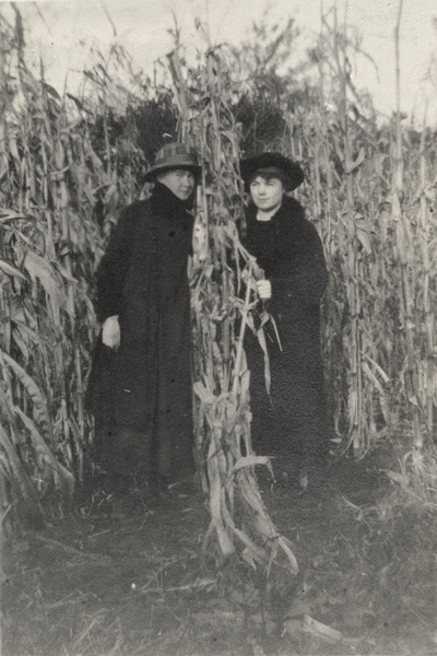A portrait of Gertrude and an unidentified woman in a corn field. The print has a written note to Margaret Ingels on the back. This image was found pasted on the front of page 101 of