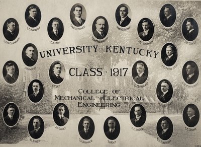 A composite print of the University of Kentucky Class of 1917 College of Mechanical Electrical Engineering. Included in this print are portraits of