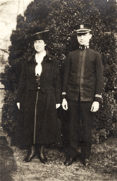 A portrait of a friend of Margaret Ingels' and an officer in Bronx Park. This is number 4 in a series. This print was found pasted to the front of page 110 of