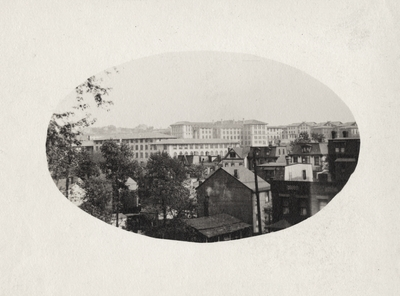 An image of an unidentified city skyline. This print was found among the