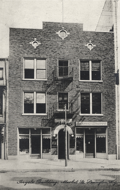 A postcard with an image of an Ingels building on Market Street in Lexington, Kentucky