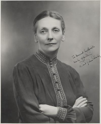 An autographed portrait of Sarah Gibson Blanding, President of Vassar College, taken by Delar Rockefeller Center