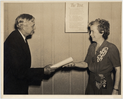 An image of Willis Carrier, founder of Carrier Air Conditioner Corporation and Margaret Ingels when Margaret was receiving an award