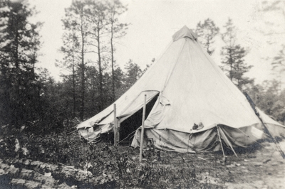 An image of a teepee style tent and writing on the print that says,