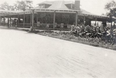 An image of house next to a tobacco patch and writing on the print that says,