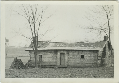 One story slave cabin and grave yard on Kentucky Governor Isaac Shelby's property; written on back: