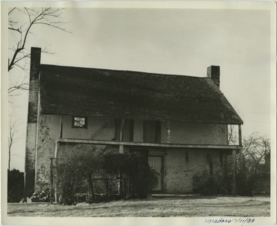 Two story, four room slave cabin; written on back:
