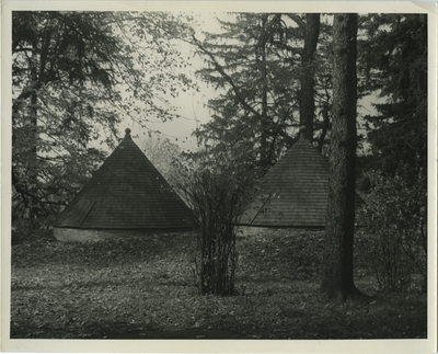 Two icehouses at Ashland, Henry Clay's house; written on back: Icehouses at 'Ashland' - Henry Clay House 1939 [illegible]