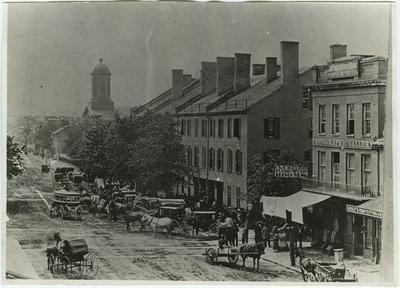 Pre-civil war Main Street in Lexington, Kentucky; written on back: