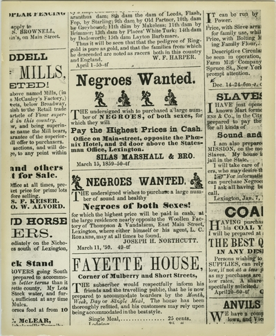 Reproduction of advertisements for the purchase of slaves by slaver dealers Silas Marshall, George S. Marshall, and Joseph H. Northcutt