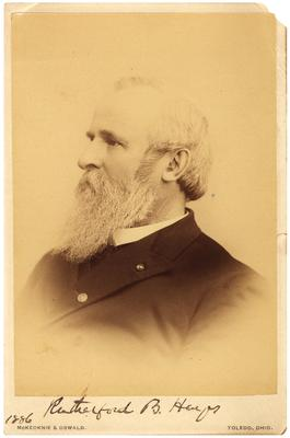 Portrait of Rutherford B. Hayes (United States President), with autograph beneath portrait,