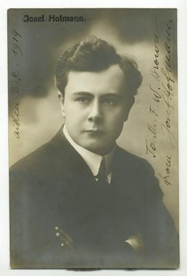 Portrait of Josef Hofmann, Aiken, S.C., 1914. Autographed to