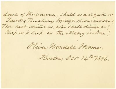 Poem with signature of Oliver Wendell Holmes dated