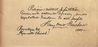 Reproduction of a hand written note with signature from Henry Ward Beecher.