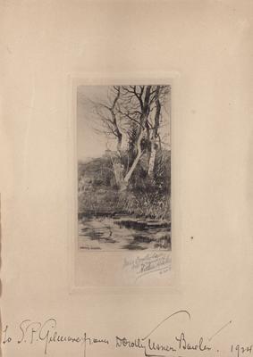 Landscape, by Arthur Hoeber, with autograph