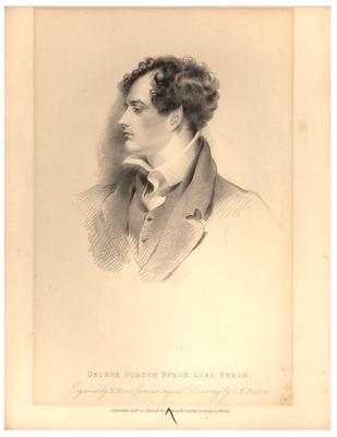 Portrait of George Gordon Byron (Lord Byron), engraving by H. Meyer from an original drawing by G. H. Harlow; published Jan. 30, 1816