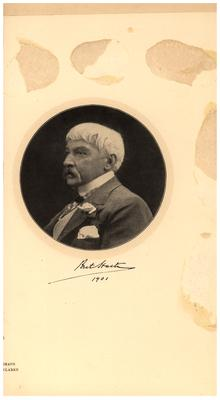 Portrait of Brete Hart as an elderly man, with printed autograph. Dated 1901