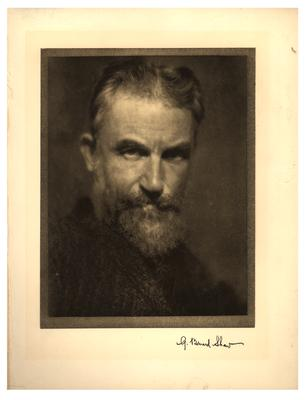 Portrait of George Bernard Shaw with printed autograph