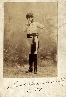 Portrait of Sarah Bernhardt, French actress, with autograph