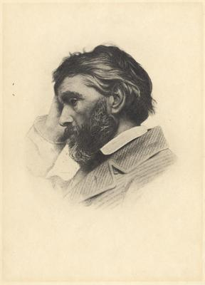 Portrait of Thomas Carlyle, Scottish historian; engraving of a photograph by Elliott & Fry, ca. 1854