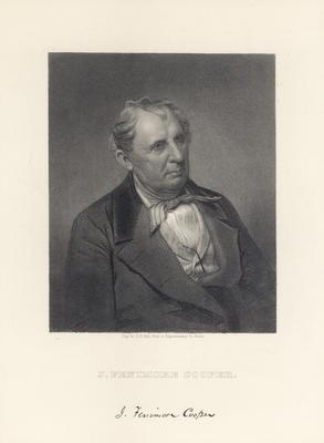 Portrait of James Fenimore Cooper, American novelist, with printed signature
