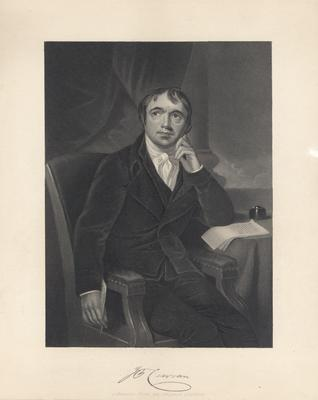 Portrait of Curran, Irish orator, lawyer and nationalist, seated