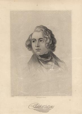 Portrait of Charles Dickens, English novelist; engraving with copy signature