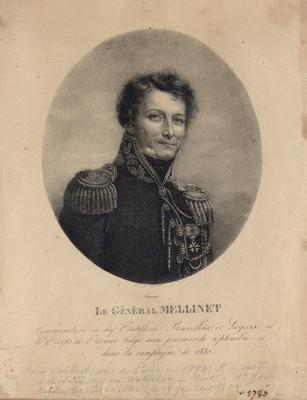 Portrait of Le General Mellinet with hand written inscription beneath image