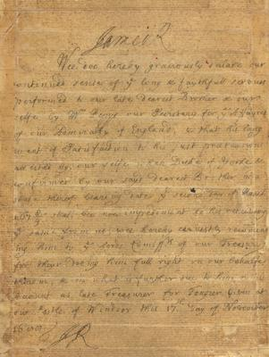 Hand written letter about Samuel Pepys, dated November 17, 1600