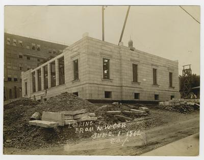 Construction of post office.                          Winchester, Kentucky // Post Office // From S.E. Cor. typed note
