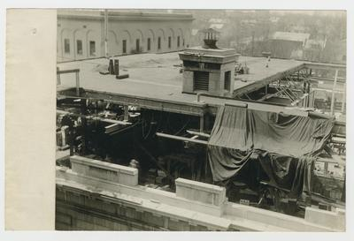 Post office rooftop addition.                          U.S. Post Office // Winchester, Ky., // March 30, 1935 // From Northeast looking Southwest typed on verso