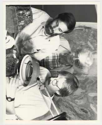 From left to right: Gerald Weisenfluh, John Ferm, and Tim Moore with the United States Geological Survey; Photographer: Ken Goad, University of Kentucky Photographic Services