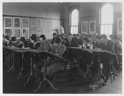 Students in an art class; Photographer: Young and Carl, Cincinnati, Ohio
