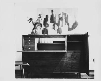 A desk at a furniture exhibit