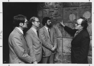 From left to right: Coleman; Kiernan; Bradley; and John Tuska, creator of the wall on the 17th floor in the Patterson Office Tower and a Professor of Art; This photo was in the Communi - K, a paper for all University of Kentucky employees