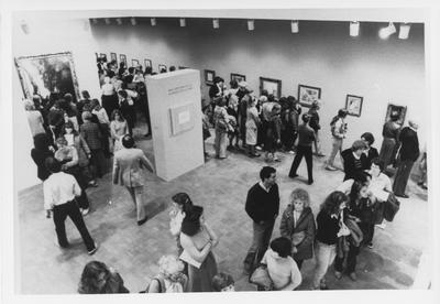 People at the Armand Hammer exhibit in the Art Museum in the Singletary Center