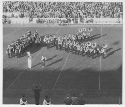 Formation on the field during Homecoming