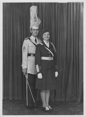 Band sponsor Mattigene Palmore and Drum major Ben Sullivan; This image is on page 219 of the 1941 Kentuckian; Photographer: LaFayette Studio